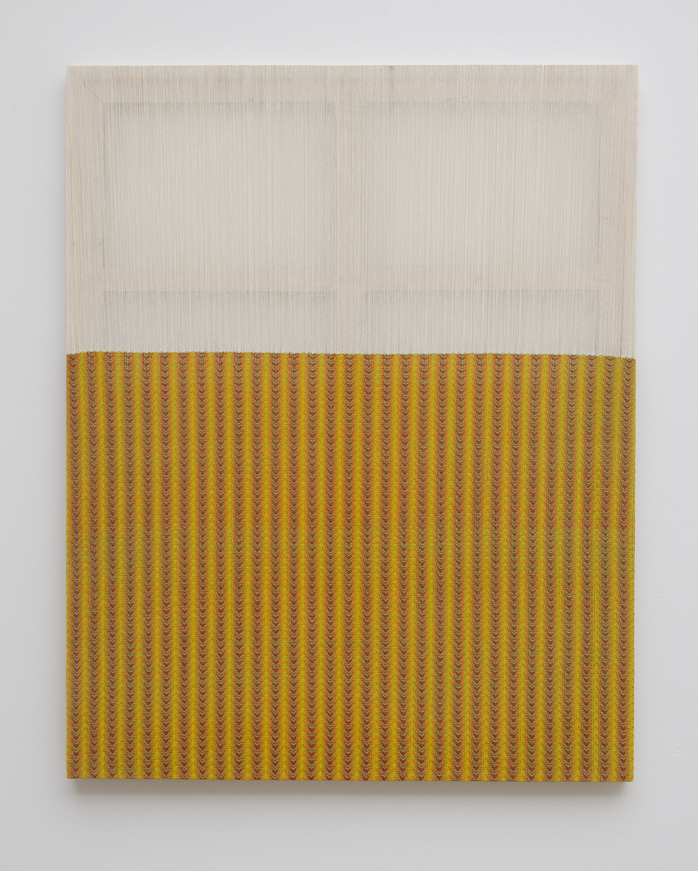 Untitled, 2011, deconstructed, hand-painted and woven canvas, pine, acrylic, wood joiners, 49 x 39in