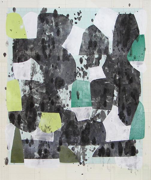 Until Then, 2010, enamel, tempera, paper collage on illustration board, 36.5 x 30.75 in