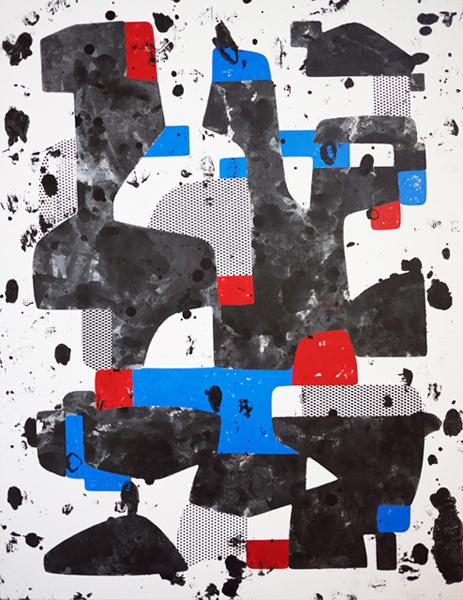 YAH, 2011, enamel, screen print ink, on paper mounted to wood panel, 32 x 24 in