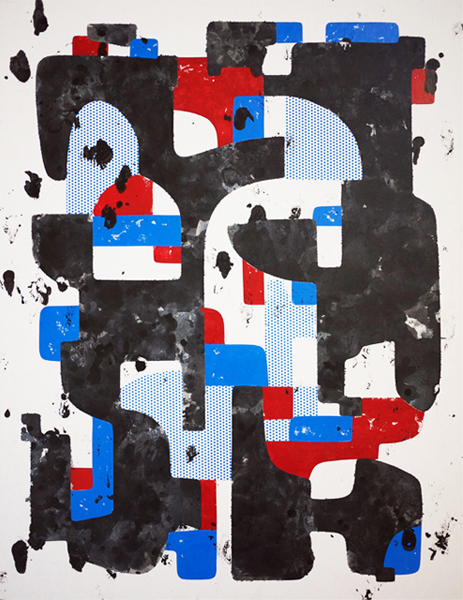 Mist Her Cynic, 2011, enamel, screen print ink, on paper mounted to wood panel, 32 x 24 in