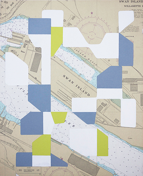 Untitled (Swan Island), 2010, enamel, collage on map mounted to board, 17.25 x 21.25 in