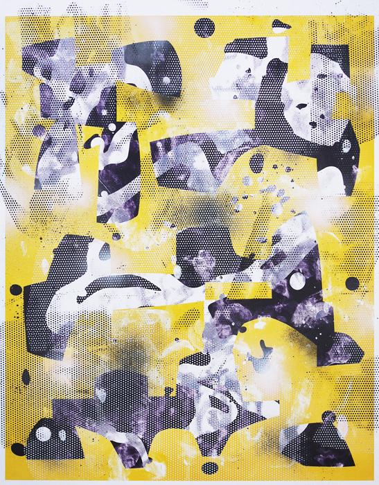 Telescopic Hindsight (Redux), 2014, enamel, screenprint ink, inkjet print on paper, 34 x 26.75 in