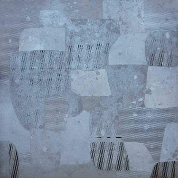 Moving Forward, 2011, enamel, screen print ink, five works on canvas, each 26 x 26 inches