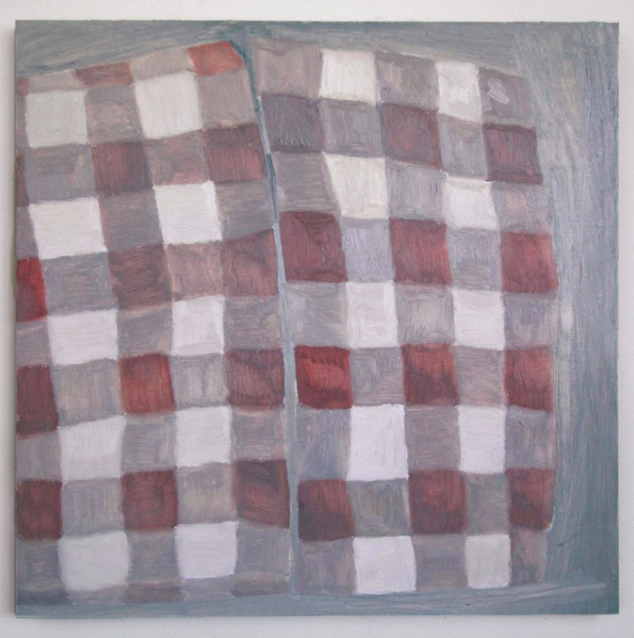 Blanketed, 2014, oil on marble ground on panel, 21 x 21in