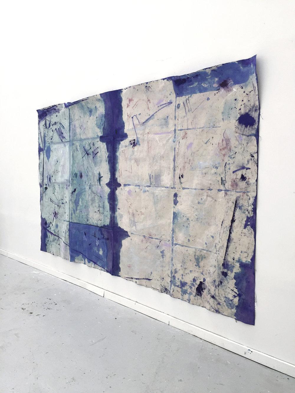 Tess WIlliams - 'Border Lines' -Oil, Ink & Bleach on Canvas - 180x296.jpg