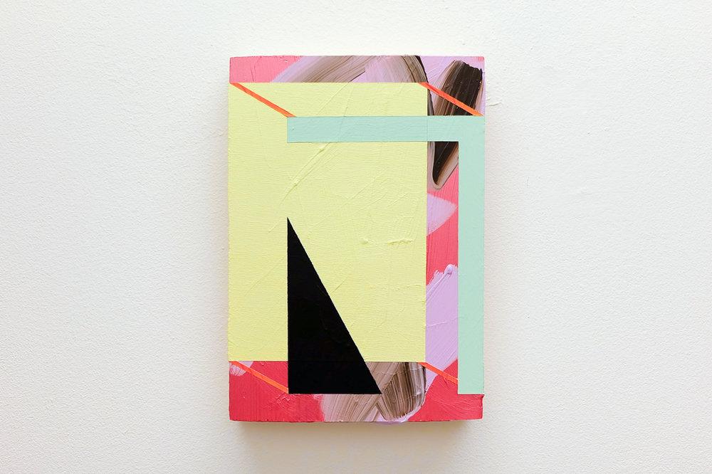 Lisa Denyer Arcade acrylic, emulsion and collage on found plywood 28x20cm.jpg