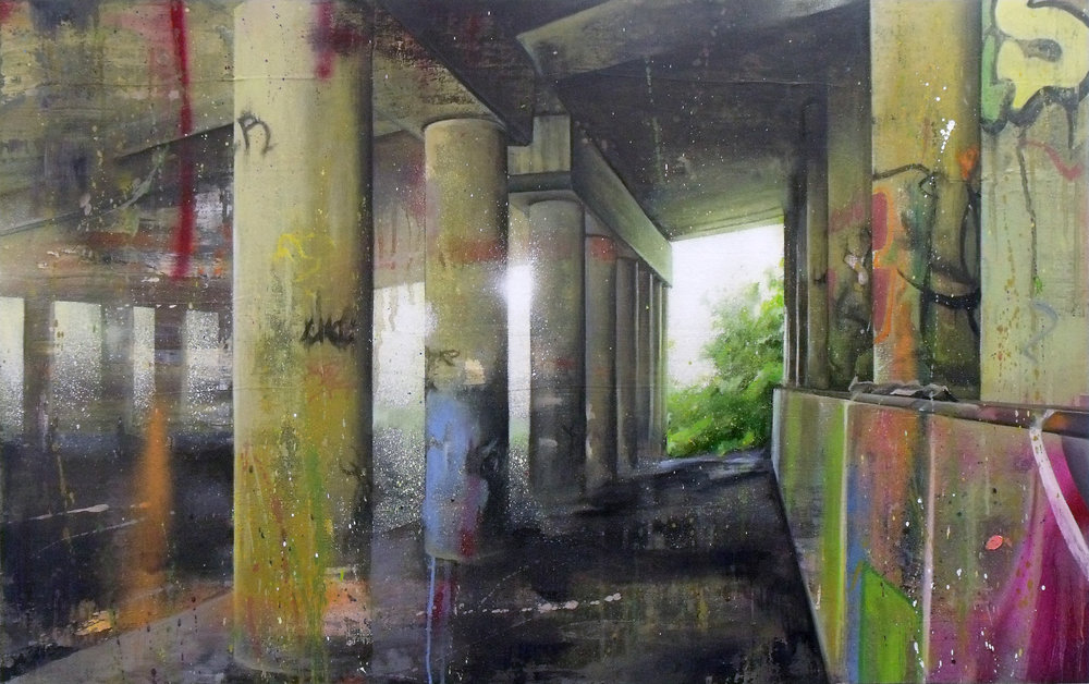 edgelands study - 89x56cm - toner transfer, acrylic, spraypaint and oil on canvas over panel.jpg