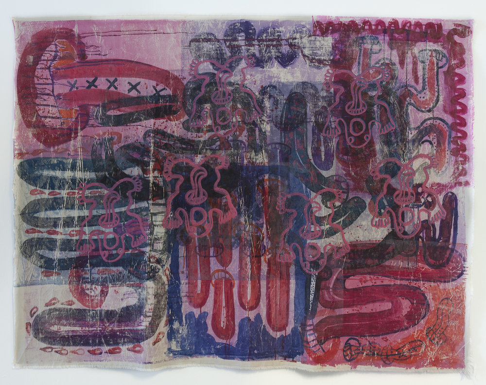 A Quest For, 2017, Textile monoprint and screen print on canvas, 230x175 cm.jpg