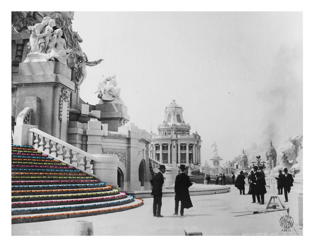 Bridges: Restaurant Pavilion at the 1904 World's Fair seen from MacNeil's Fountain at the Central Cascades. April, 1904