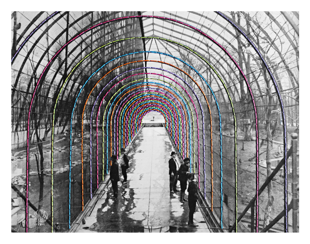 Bridges: Interior walkway of bird cage, St. Louis Zoo, 1917-1927.