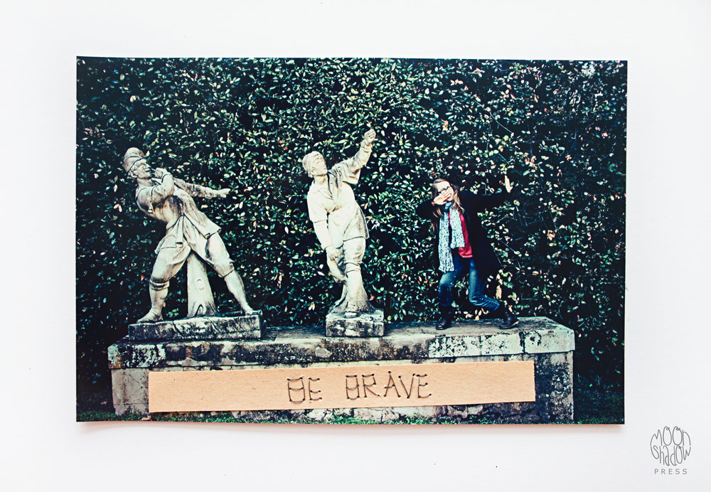 3.  Be Brave  (2014). Embroidered Photograph/Collage: photograph, book page, thread.