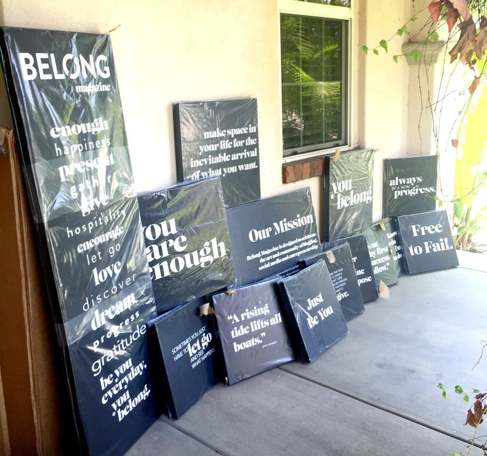 front porch full of canvases - belong mag blog