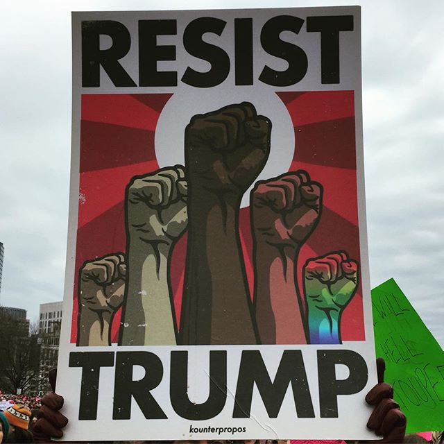 Participating in the #womensmarch in our various cities. Here's a pic from the #bostonwomensmarch where @olivia.j.harris is repping @fortysixtytrio