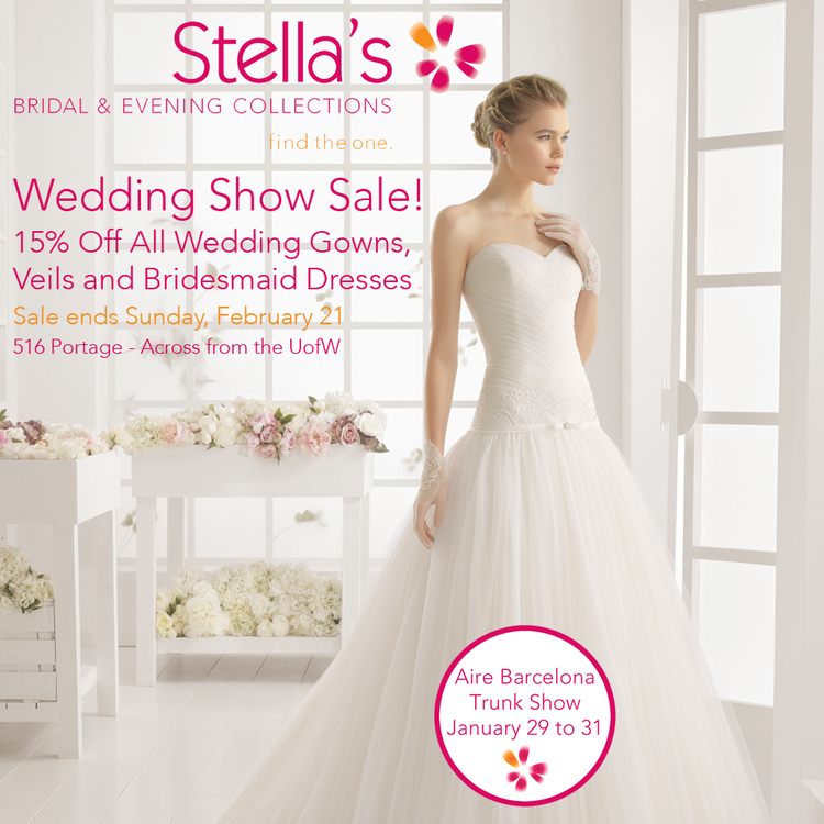 Wonderful Wedding Show Sale! — Stella\'s Bridal & Evening Collections ...