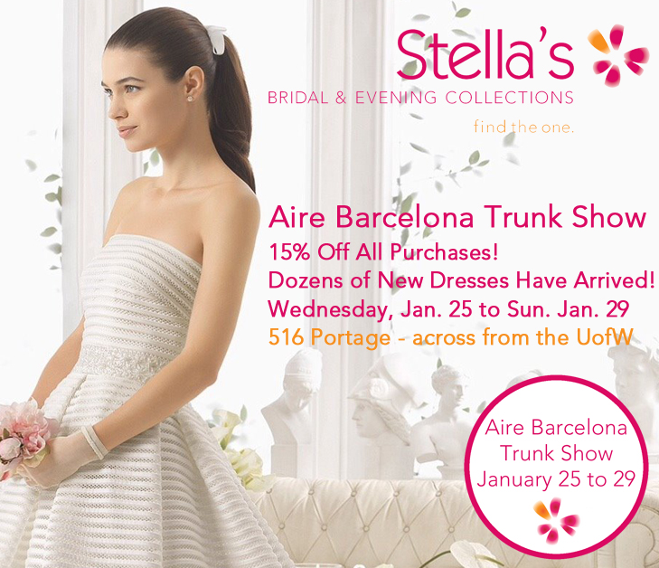Aire Barcelona Wedding Dress Trunk Show - Winnipeg, Manitoba, Canada