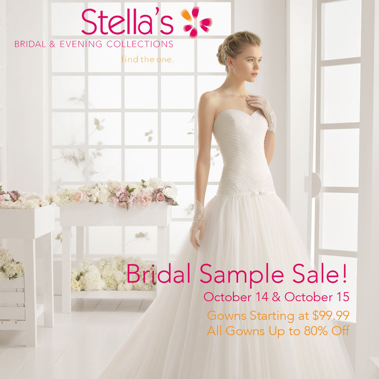 Stella\'s Annual Bridal Sample Sale! — Stella\'s Bridal & Evening ...