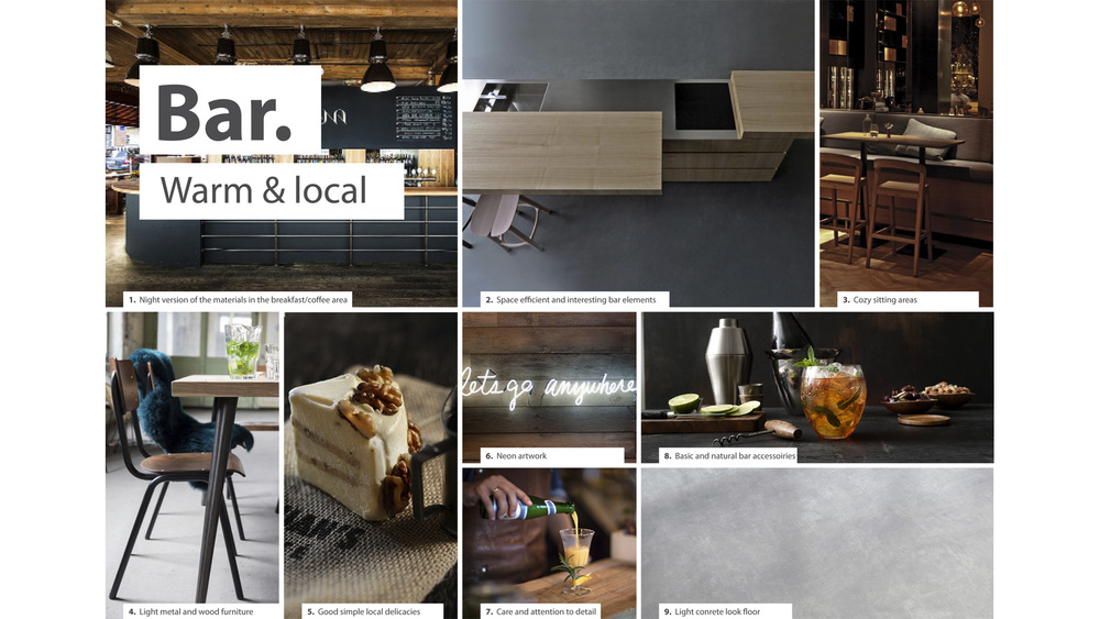 DESIGN MOODBOARD OF BAR AREA