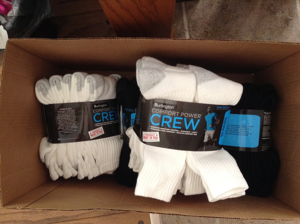 Thanks to Cynthia of GoodWorx Inc. for her donation of 40 pairs of socks for our August distribution!