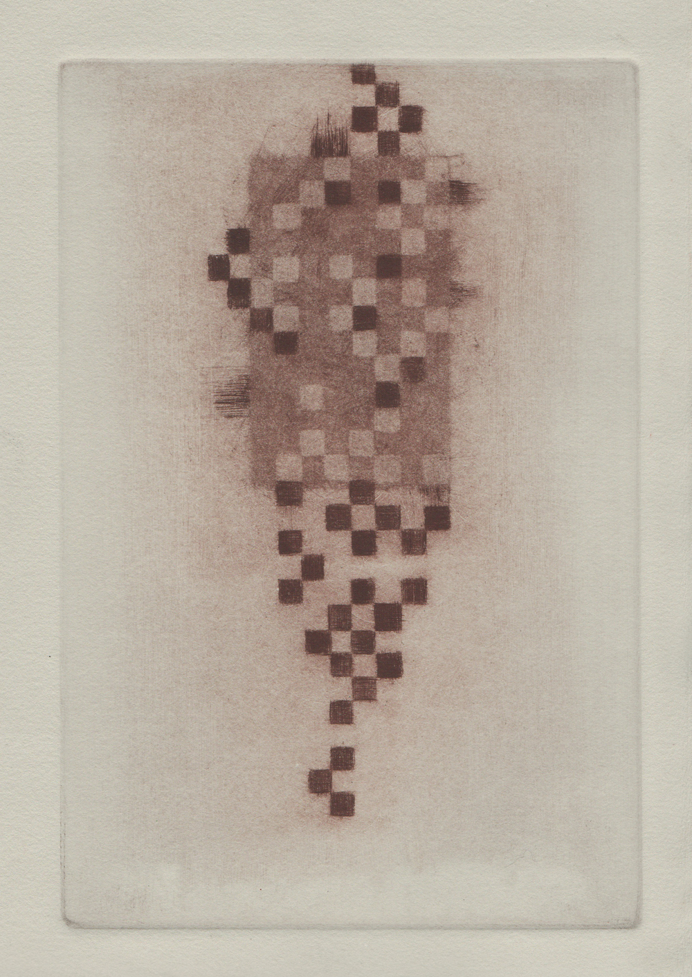 Dead Pixels, 2014, mezzotint and drypoint, 14x11in