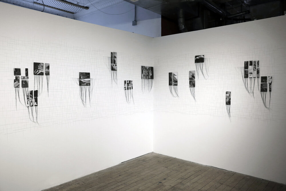 Cataloging Transgressions, 2018, installation (screen printed photos, thread, drawing on wall, pins)