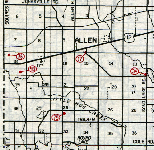 Allen Twp.  T-6-S  R-4-W                                                            17... Allen    34... Sand Lake (North Sand Lake,            East Allen or Cutter)    75... South Allen    76... Walsh-Ives (Dorris)    93... Layton Grave