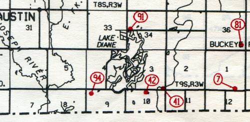 Amboy West Twp. T-8-9-W R-3-W                                                            7... Baker (Drake)    41... Hagaman     42... Osborn (west Amboy)    81... Alfred (Converse)    91... Cellars     94... Robinson Family