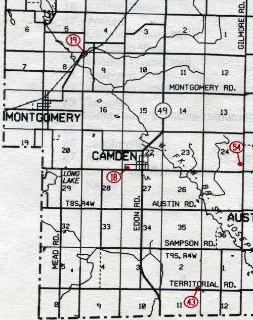 Camden Twp. T-8-9-SR-4-W     18… Camden    19… Berg(Burg)    43… Palmer (South Camden)    54… Amish