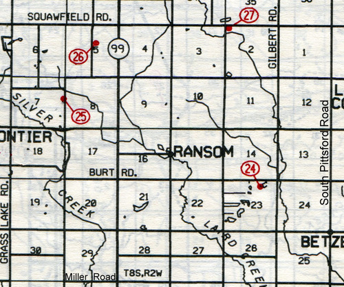 Ransom Twp. T-8-SR-2-W     24… Evergreen (Burt)    25… Wild Cherry (Andridge)    26… Doty    27… Mud Lake (Egglestor or Teachout)