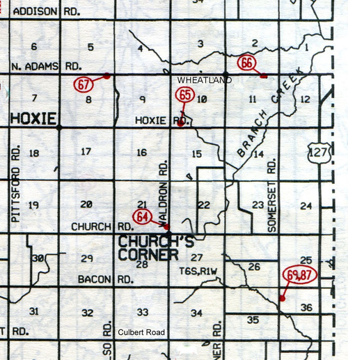 Wheatland Twp. T-6-SR-1-W                                                             64… Church's Corners (Baptist)    65… Fowler (Eastman, Evergreen or Little)    66… Dibble    67… Pease    69…Taylor    87… Grave