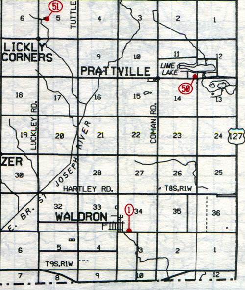 "Wright Twp.  T-8-9-S  R-1-W                                                            1… Waldron    50… Prattville (Emens)    51… Lickly Corners (Lickley""s Corners)"