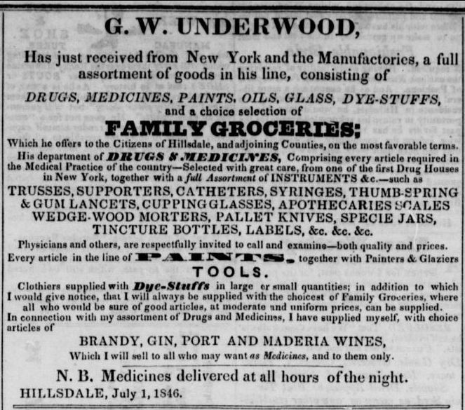Underwood Ad Hillsdale Whig Standard July 7 1846.jpg