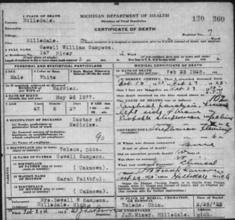 Chief Long Wolf Death Certificate