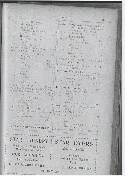 1923 Hillsdale City Directory