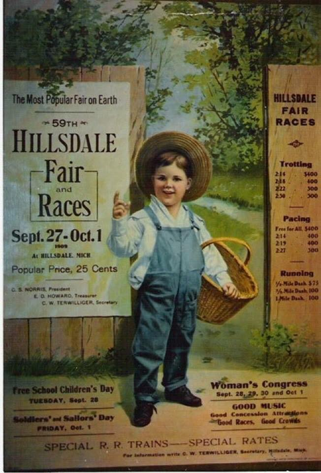 In the old days - like about 1909 - it wasn't odd to see some incredible artwork used to advertise events like the Hillsdale Co. Fair. This photograph of an old poster takes everyone back to the days when the railroad was the best transportation, the fair only cost 25 cents and Veteran's Day was still Soldier's and Sailor's Day. A few things never changed though: Free School Children's Day is still on Tuesday and the Women's congress still offers a week of events. Hillsdale Daily News Oct 3 1992