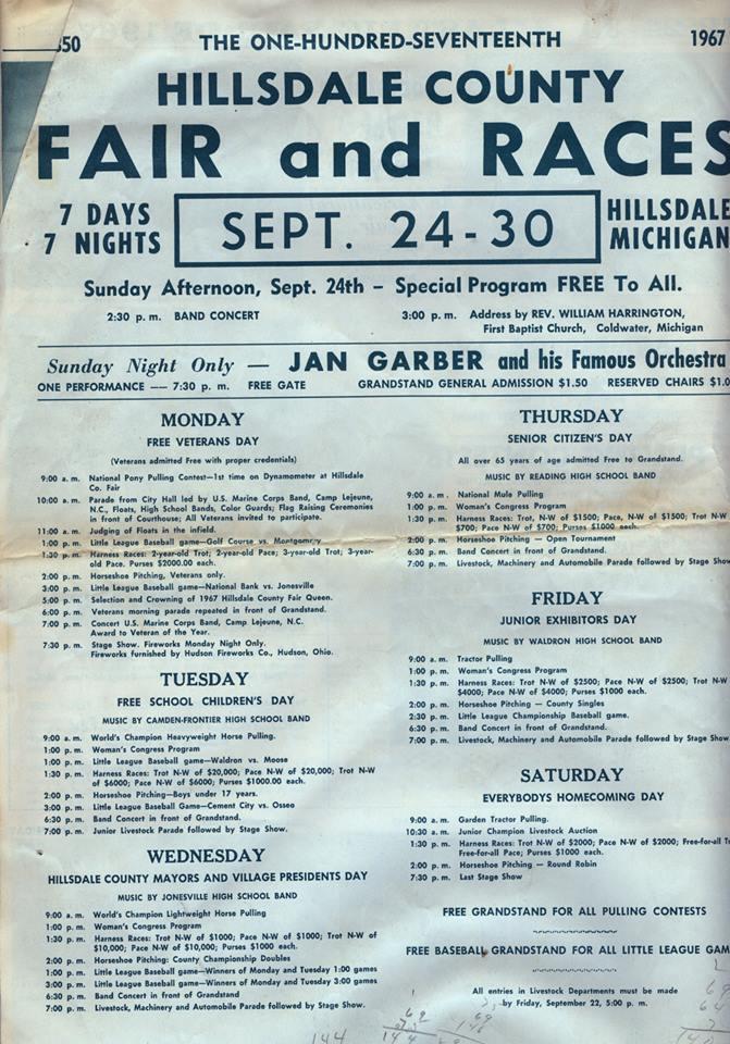 1967 Fair Schedule