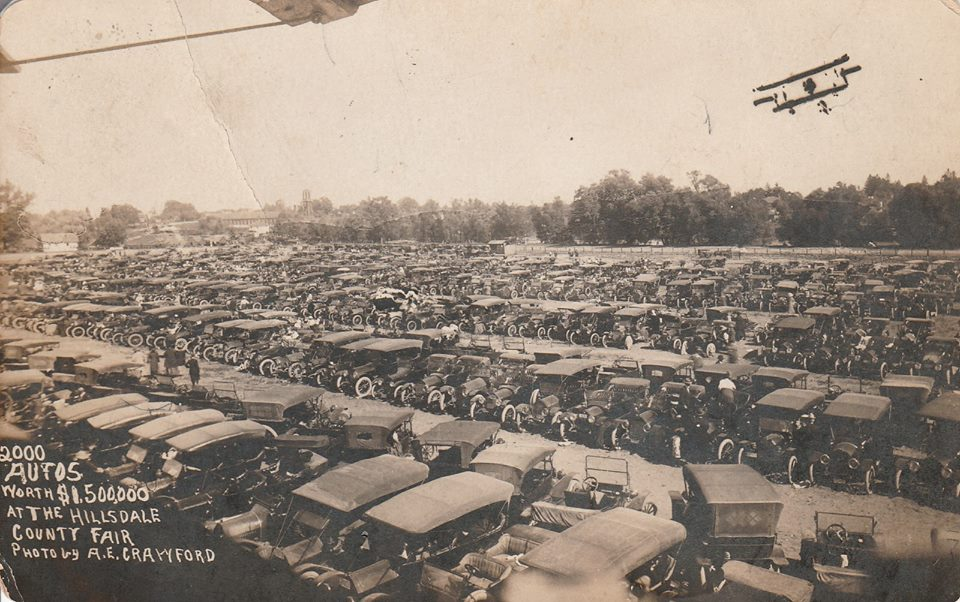 Cars fill the infield
