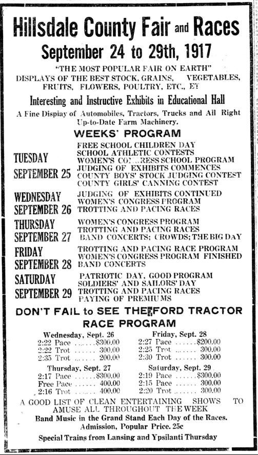 Hillsdale Daily News Fair Program Sept 22, 2017