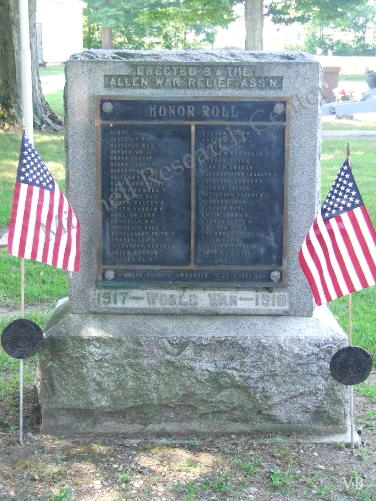 Allen Cemetery WWI Honor Roll