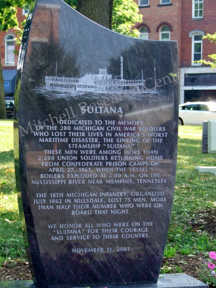 Sultana Monument Hillsdale Court House Square North End