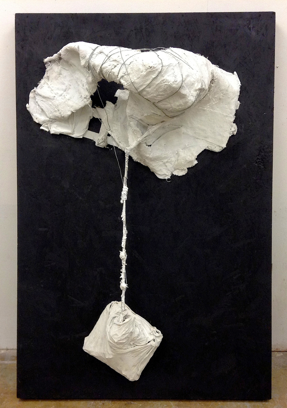 "Untitled (Assumption)   Wood, wire, sheetrock joint compound, and paint  48"" x 72"" x 28,"" 2013"