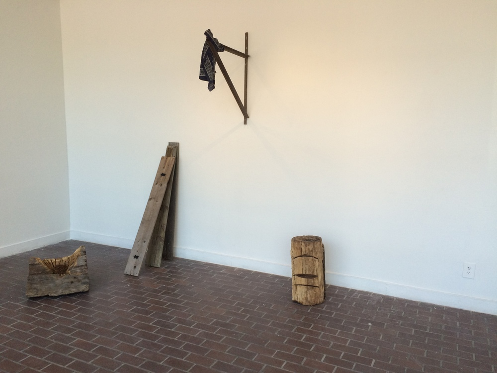 The Right to Work (installation view)  Wood, steel, NC red clay, tobacco, roofing tar, wire, textiles, and concrete  Dimensions variable,  2015