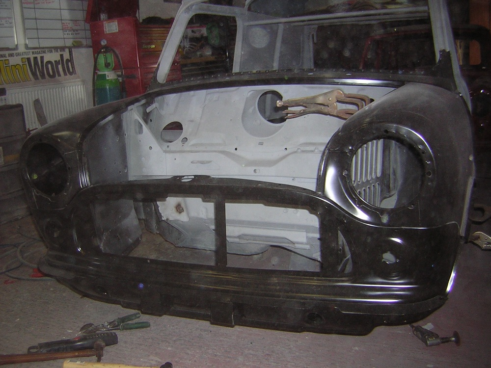Front of Mini Van during Restoration by The Real Mini Company