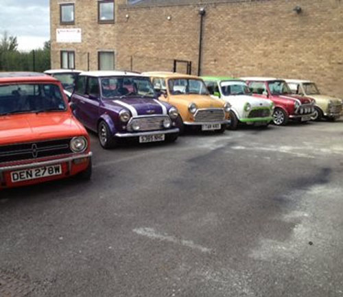 mini's in the real mini company car park