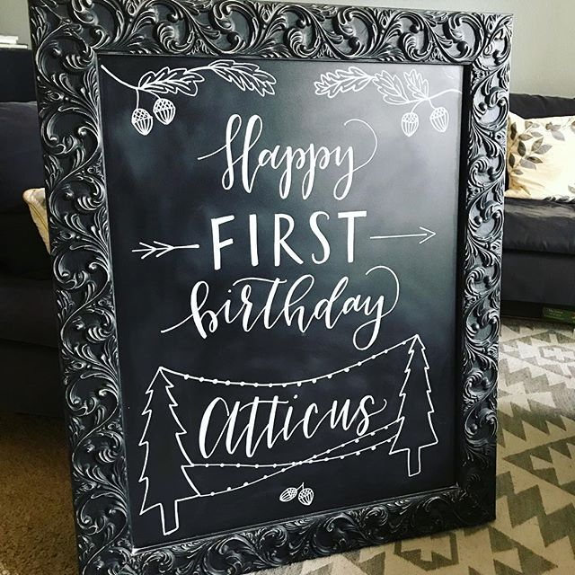 Happy first birthday! 🍁🍂 . . . . . . #calligraphy #wedding #weddingcalligraphy #moderncalligraphy #handlettered #chalkboardcalligraphy #chalkboardart #communityovercompetition #lagunabeach