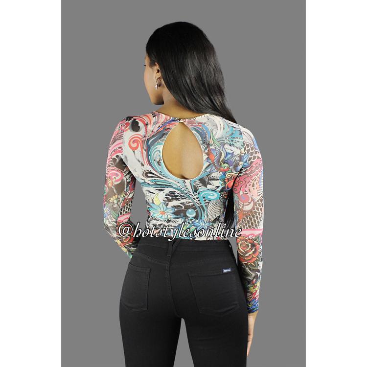b8fda4b25a Amy Multi Color Tattoo Flower Print Mesh Bodysuit. 34.99. image.jpeg ...