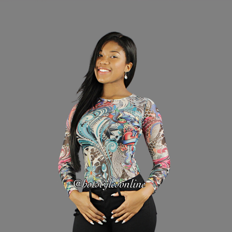 99de2acf62 Amy Multi Color Tattoo Flower Print Mesh Bodysuit — Hot Styles Online