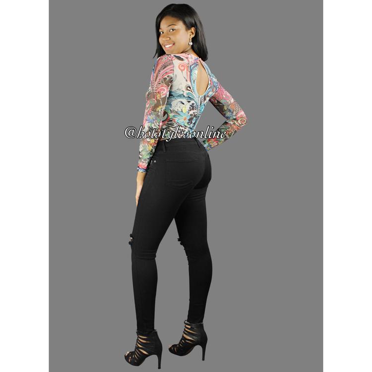 6c26d86457 Amy Multi Color Tattoo Flower Print Mesh Bodysuit. 34.99. Styles 2853J
