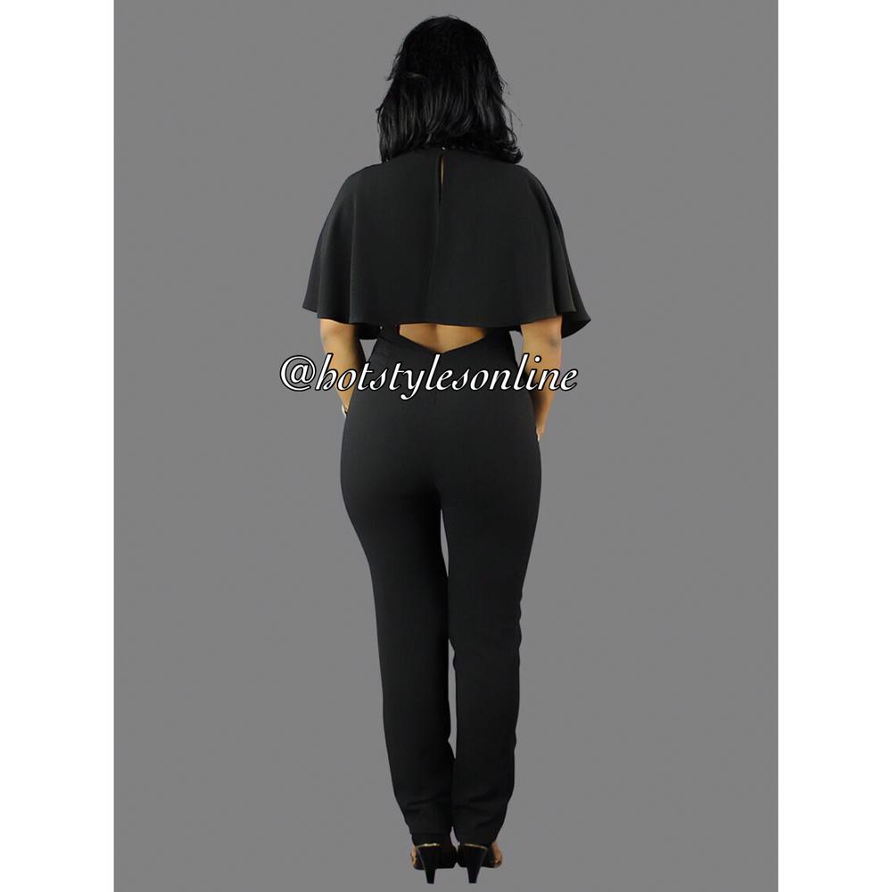 f5bb89d4640e Kari Black Cape Sleeves Back Cut Out Jumpsuit — Hot Styles Online