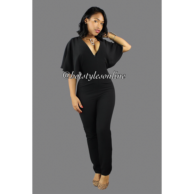abb8c8d6db40 Kari Black Cape Sleeves Back Out Jumpsuit — Hot Styles Online