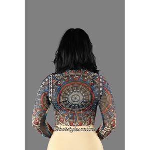 19d1801e2c Twila Multi Color Tribal Print Mesh Bodysuit